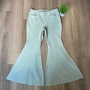 Free People CRVY Super High Rise Lace Up Flares 35